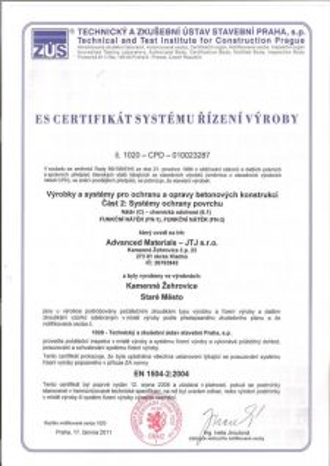 ES certifikát systému řízení výroby