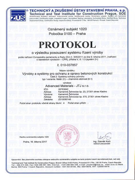 TZÚS – Protokol o výsledku certifikace výrobku